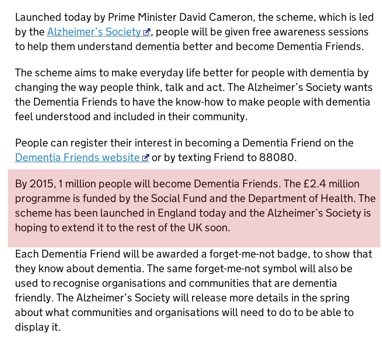 Funding of dementia friends