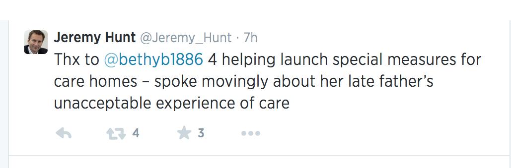 Hunt tweet
