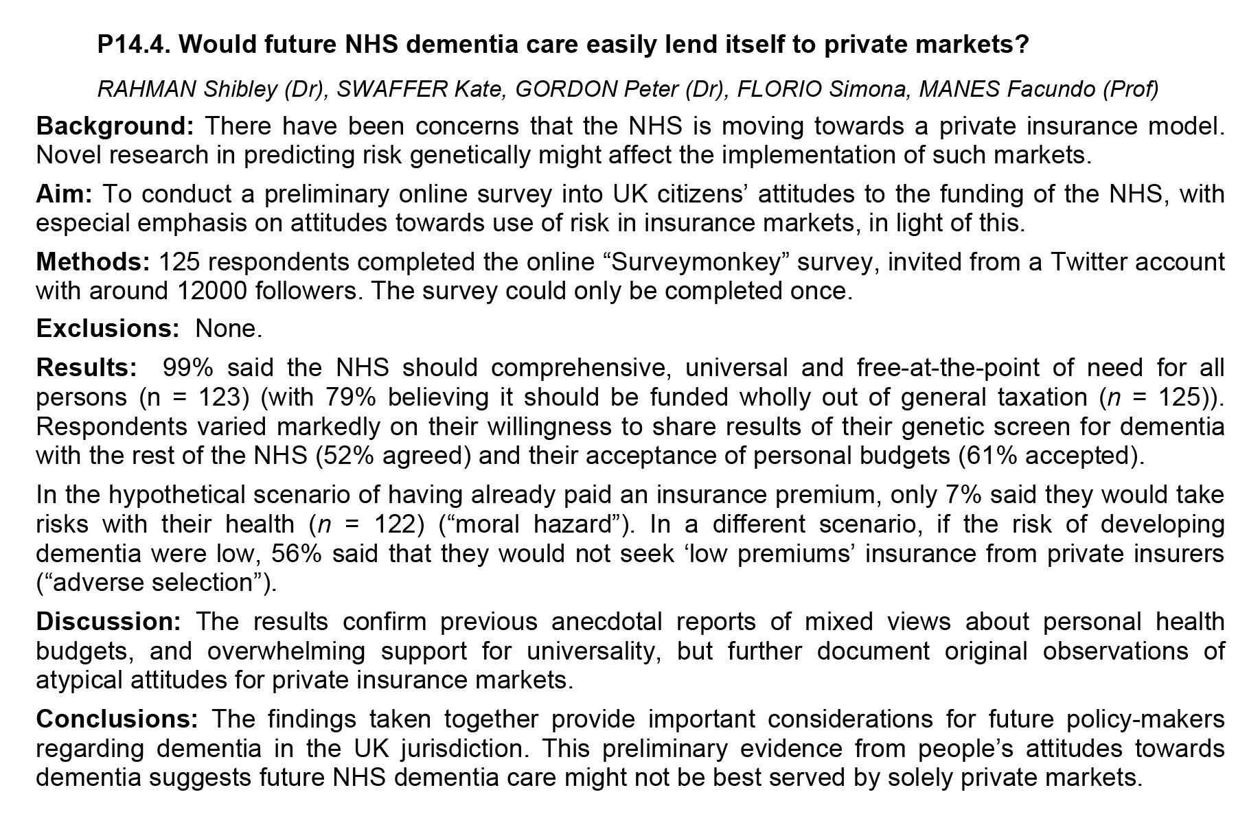 Future dementia care